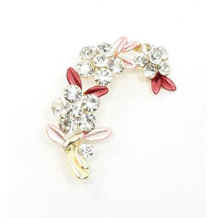 Unique Bargains Pink Red Shiny Rhinestone Floral Leaf Pin Brooch Decoration - image 1 de 1