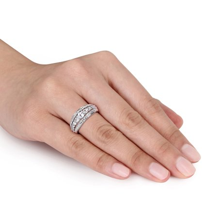 1 1/8 Carat (ctw) Lab Created White Sapphire Graduated Ring in Sterling Silver - image 1 de 4