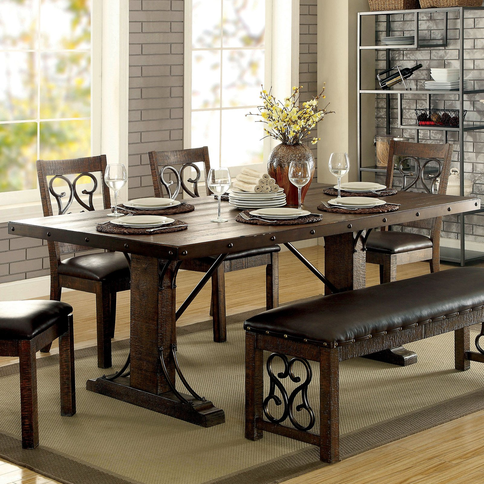 Furniture of America Thwan Traditional Plank-Style Metal Accent Dining Table