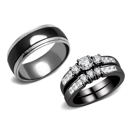 Ring Coupe - Couple Rings Black Set Womens Stainless Steel Small Round CZ Engagement Ring set Mens Wedding Band - Size W5M9