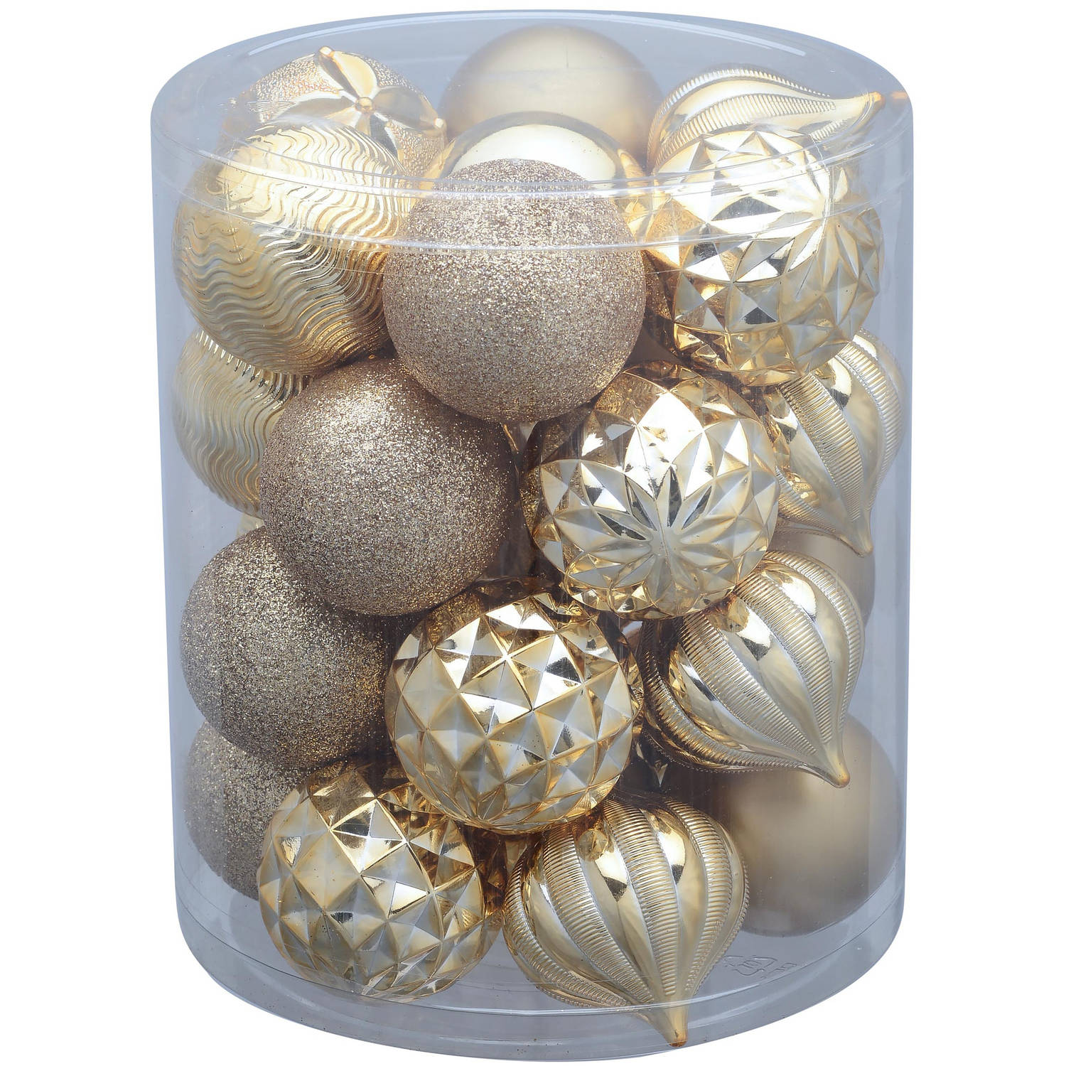 Holiday Time 26-Pack Gold Matte Glitter Ornaments