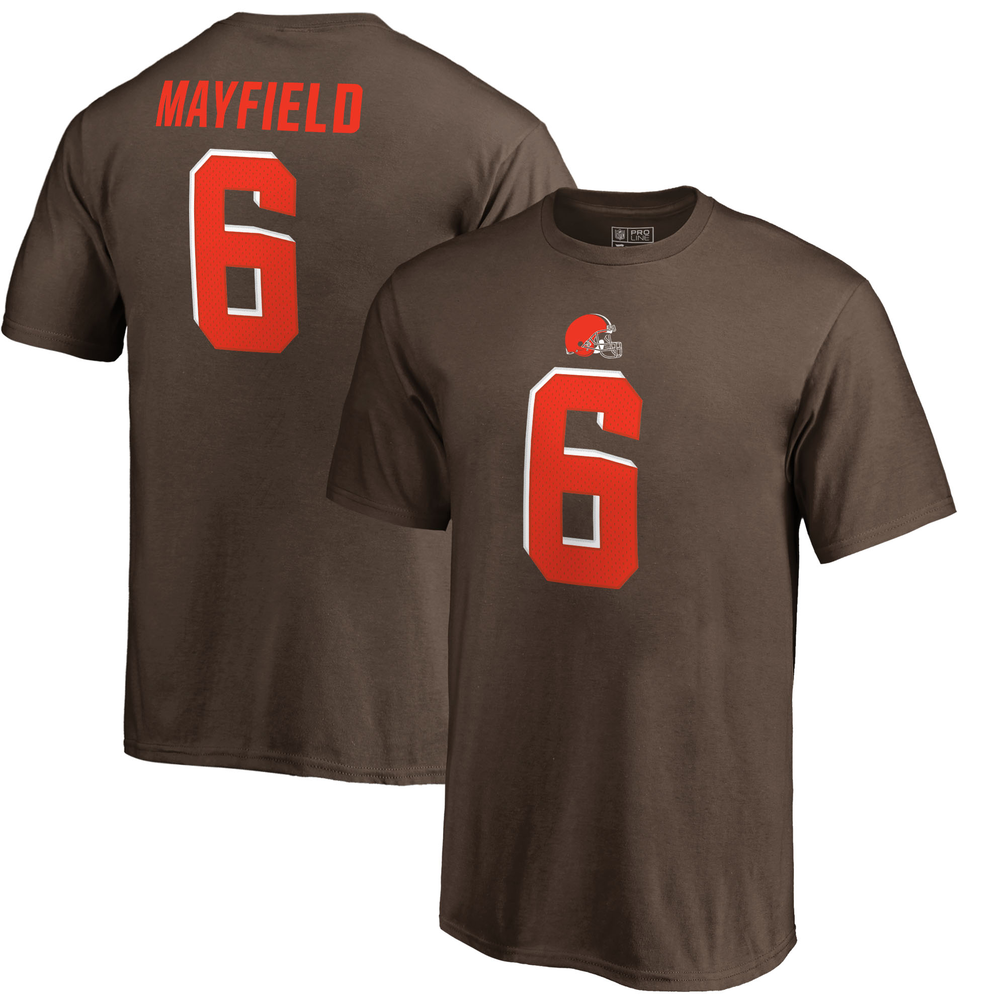 Baker Mayfield Cleveland Browns NFL Pro Line by Fanatics Branded Youth Authentic Stack Name & Number T-Shirt - Brown