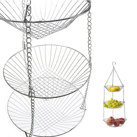 3 Tiered Hanging Fruit Baskets - Adjustable Chrome Wire Produce Storage Bowls - image 3 of 5