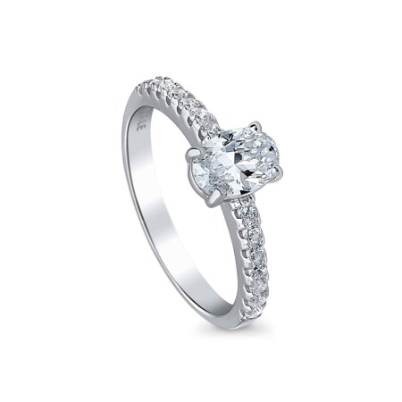 Rhodium Plated Sterling Silver Solitaire Promise Ring Made with Swarovski Zirconia Size - Rhodium Plated Sterling Silver Solitaire