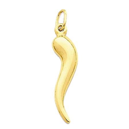 14K Yellow Gold 3-D Italian Horn Charm Pendant - 25mm