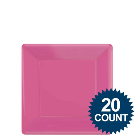 "Hot Pink 7"" Square Paper Cake Plates (20 Pack) - Party Supplies"
