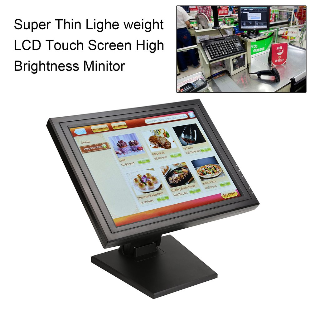 New 17 Inch 1024 X 768 Touchscreen Touch Screen Display Monitor Thin for PC LED Monitor Retail Restaurant Bar Cheapest Touch Screen Display USB Interface, Black