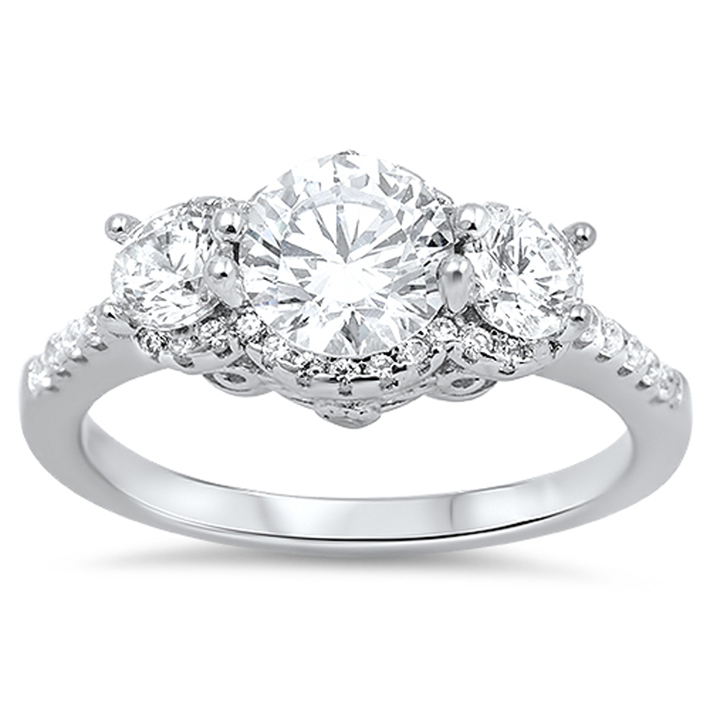 Women's Wedding White CZ Halo Promise Ring ( Sizes 5 6 7 8 9 10 ) .925 Sterling Silver Band Rings by Sac Silver (Size 10)