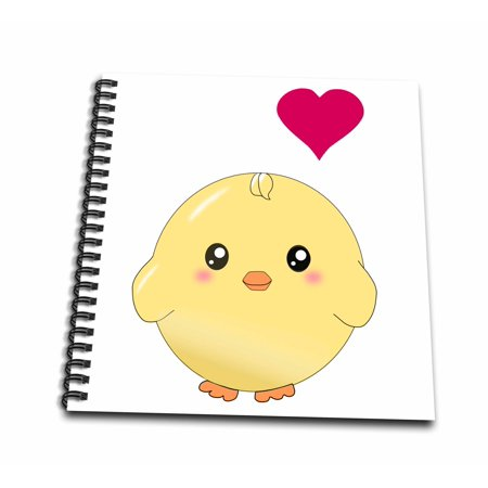 3dRose Cute yellow chick with red love heart - sweet kawaii anime cartoon - adorable round baby bird - Drawing Book, 8 by 8-inch