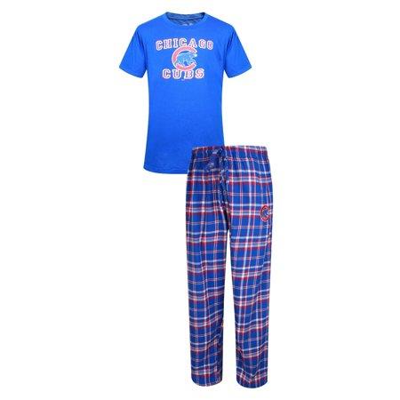 "Chicago Cubs MLB ""Tiebreaker"" Mens T-shirt & Flannel Pajama Sleep Set by"