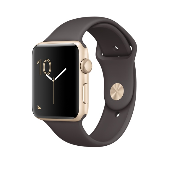 Apple Watch Series 2, 42mm Gold Aluminum Case with Cocoa ...