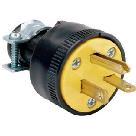 - 1703CC10 20A Heavy Duty Rubber Construction Plug, Black