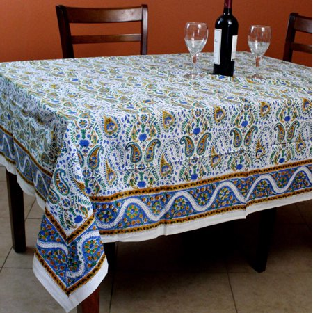Hand Block Print Paisley Floral Tablecloth Square Tables Cotton Table Linen