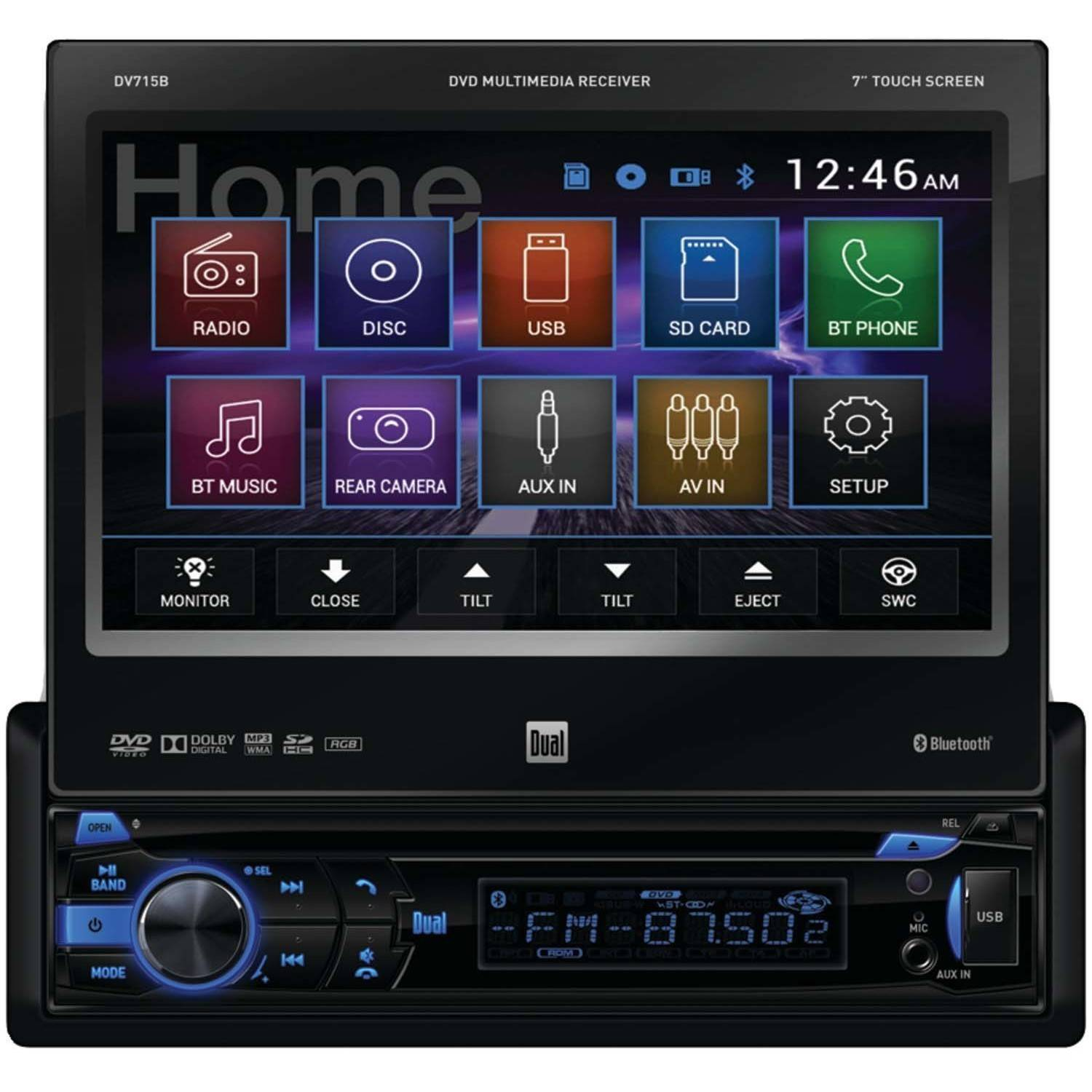 """Dual Electronics DV715B 7"""" Single-DIN In-Dash DVD Receiver with Motorized Touchscreen and Built-in Bluetooth"""