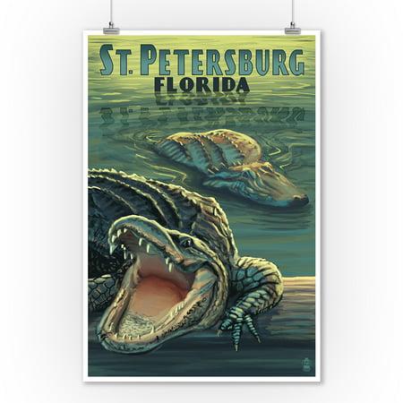 St Petersburg, Florida - Alligators - Lantern Press Poster (9x12 Art Print, Wall Decor Travel (Florida Gators Wall)