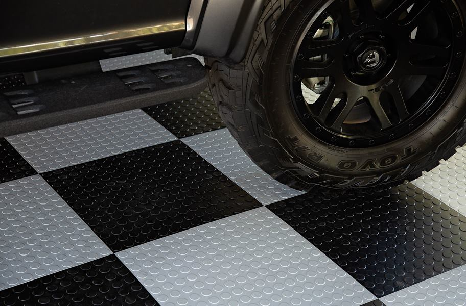 IncStores Nitro Garage Tiles 12x12 Interlocking Garage Flooring 52-12x12 Tiles, Coin Arctic White