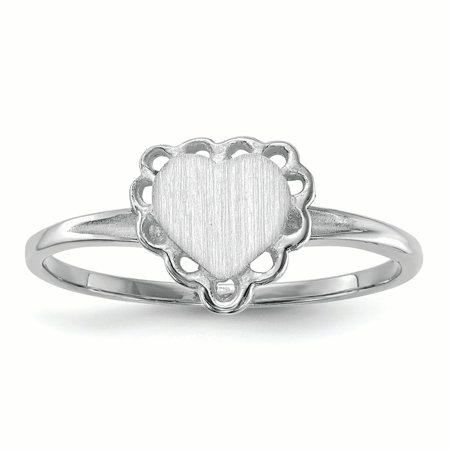 14K White Gold 2 MM Heart Engravable Signet Ring, Size 6