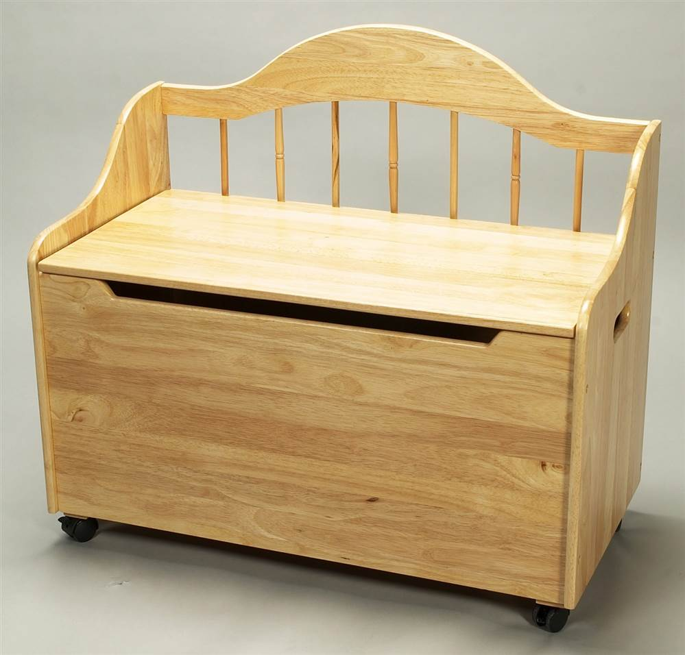 Kids Toy Bench Chest w Natural Wood Finish