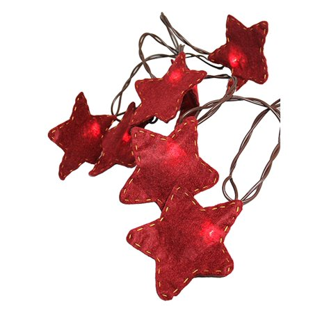 Set of 10 Country Heritage Red & Yellow Felt Star Christmas Lights - Brown Wire