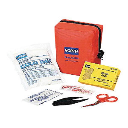 North By Honeywell Redi-Care 5'' X 5 1/2'' X 2 1/2'' Red Nylon Portable Mount Small 5 Person Responder First Aid Kit