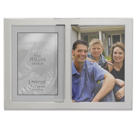 Silver Flat Panel Frame - Brushed Silver Metal and Shiny Metal Two Tone 5x7 Hinged Double Opening Panel
