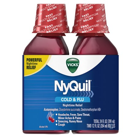 Vicks NyQuil, Nighttime Cold & Flu Symptom Relief, Relives Aches, Fever, Sore Throat, Sneezing, Runny Nose, Cough, 12 Fl Oz (Pack of 2), Cherry