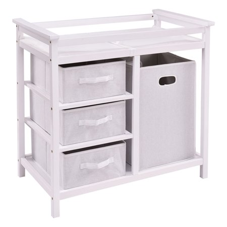 Ghp 34 5 X34 X21 White Wood Baby Changing Table With 3 Basket Hamper Diaper Storage