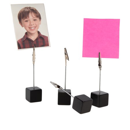 (4 Pack) Cube Photo Holder Stand With Clips For Pictures Photo Card Holder Display For Table Desk