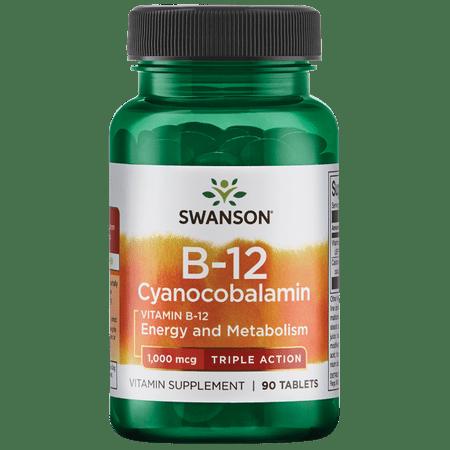 Swanson Vitamin B-12 Cyanocobalamin - Triple Action 1,000 Mcg 90 Tabs 1000 Mcg 90 Sublingual Tablets