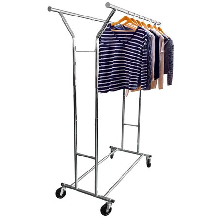 Ktaxon Commercial Double Garment Rack Hanger Holder Grade Collapsible Clothing Rolling Organizer