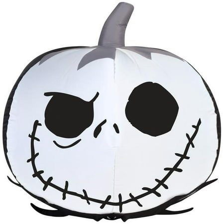 2' Airblown Jack Skellington Face Pumpkin Disney Halloween Inflatable (Halloween Pumpkin Carving Faces Patterns)