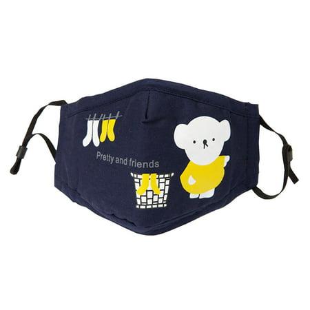 Cotton PM2.5 Anti-smog + N95 Activated Carbon Mask Children Masks Bear Navy - Bear Mask