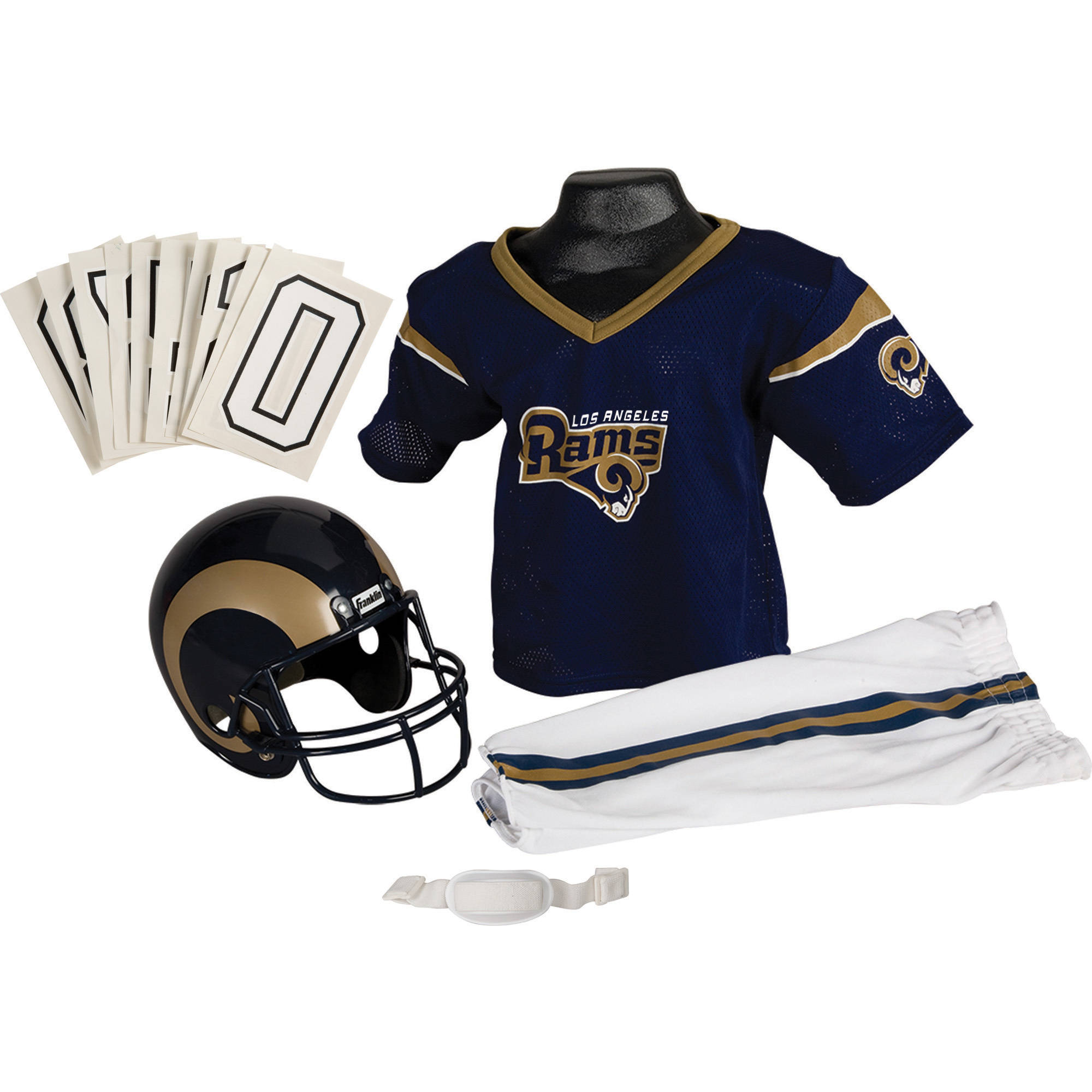 Franklin Sports NFL Los Angeles Rams Youth Licensed Deluxe Uniform Set, Small