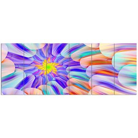 Design Art 'Multi-Colored Stain Glass with Spirals'  6 Piece Graphic Art Print Set on Canvas Design Orange Fused Glass