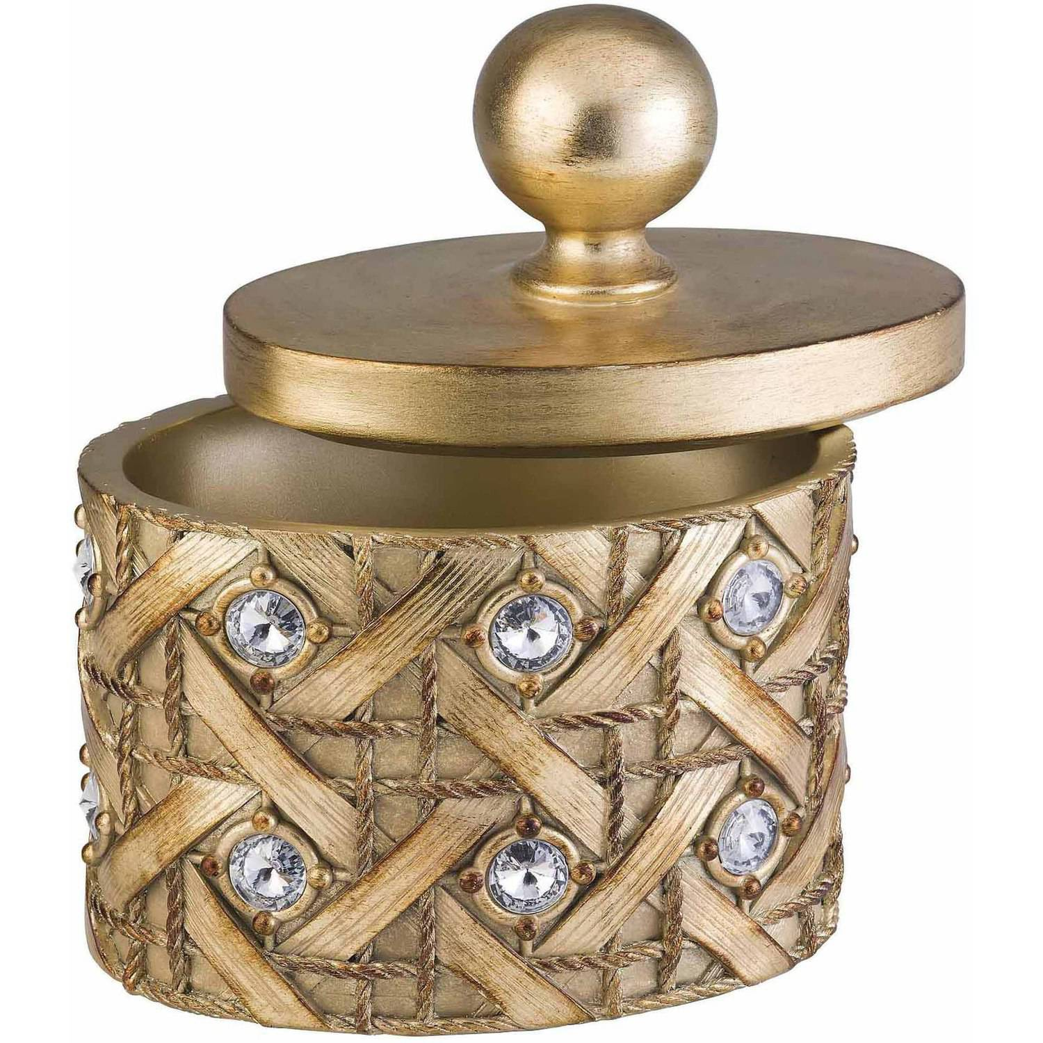 "Ok Lighting 9""H Gold Glimmer Deco Box, Gold"