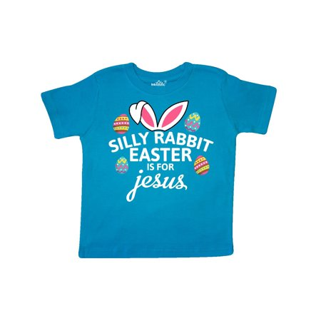 Silly Rabbit Easter is for Jesus with Bunny Head and Easter Eggs Toddler T-Shirt (Easter For Toddlers)