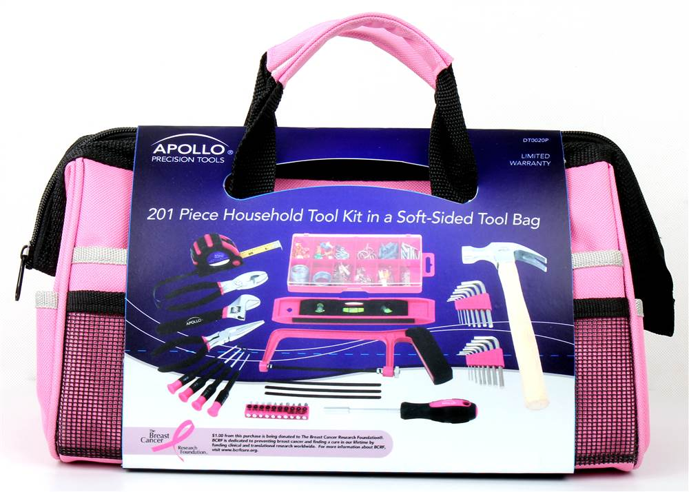 Apollo Tools 201 Piece Household Tool Kit In Bag Pink