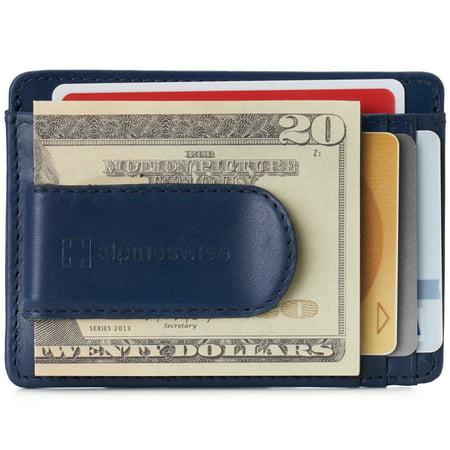 Alpine Swiss Mens RFID Money Clip Leather Minimalist Wallet Card Case ID Window ()