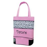 Sassi Design Pink Black Dalmation Dance Embroidered Tote Bag