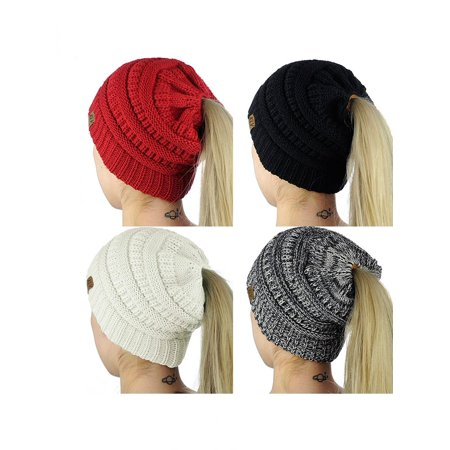 Fashion Women Soft Knitted Bun Ponytail Hat Crochet Warm Sports Beanie Cap