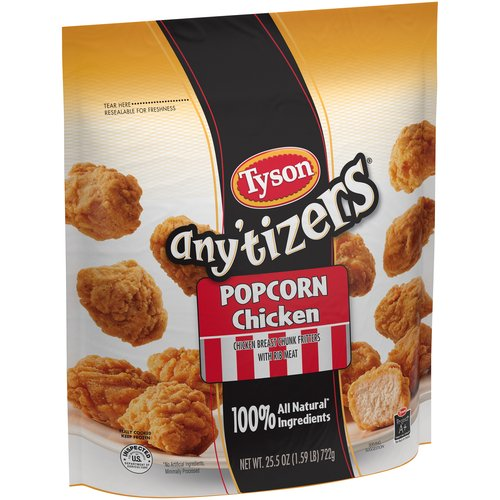 Tyson  Any'tizers White Meat Chicken Fritters Anytizers Popcorn Chicken, 25.5 Oz