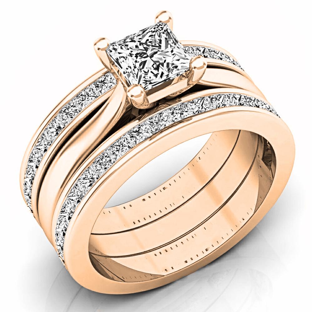 2.05 Carat (ctw) 18K Rose Gold Princess Cut White Diamond Ladies Bridal Engagement Ring Matching Band Set 2 CT