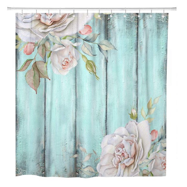 Suttom Teal Rustic Shabby Country Chic, Country Decor Shower Curtains