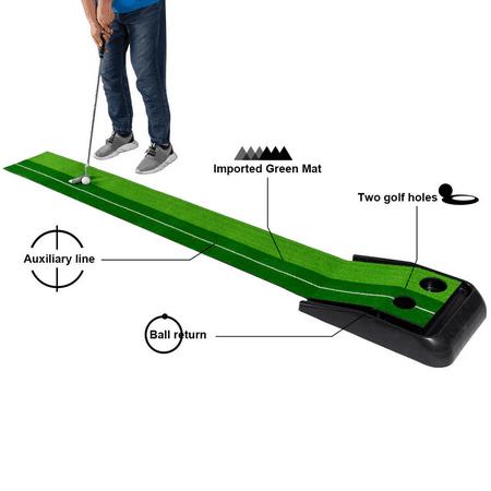 GHP Green Plastic Base & Simulation Grass Indoor Golf Putting Practice Mat w 2