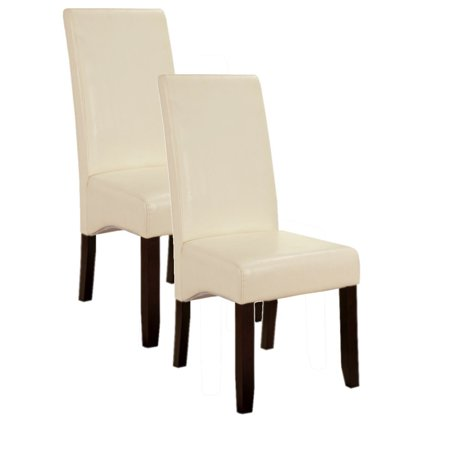 Cream white upholstered faux leather parsons accent dining for Cream upholstered dining chairs