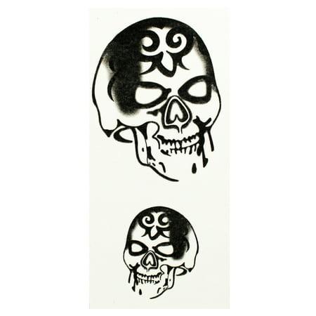 Tribal Tattoo Sinister Grinning Skulls Temporary Tattoos (2 - Tattoos Skulls
