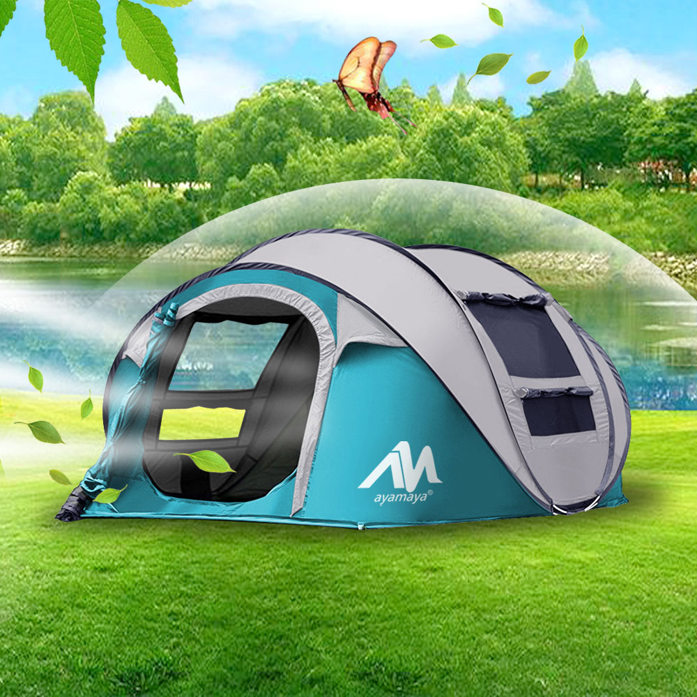 4c3fe7e5c46 IClover Camping Tents 3/4 Person Easy Up Instant Setup Ventilated [2 Door]  [Mesh Window] Waterproof Automatic Pop Up Big Family Privacy Dome Tent  Shelter ...