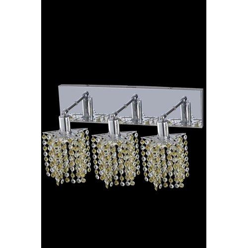 Elegant Lighting Mini 3 Light Pentagon / Star Wall Sconce in Chrome with Oblong Canopy