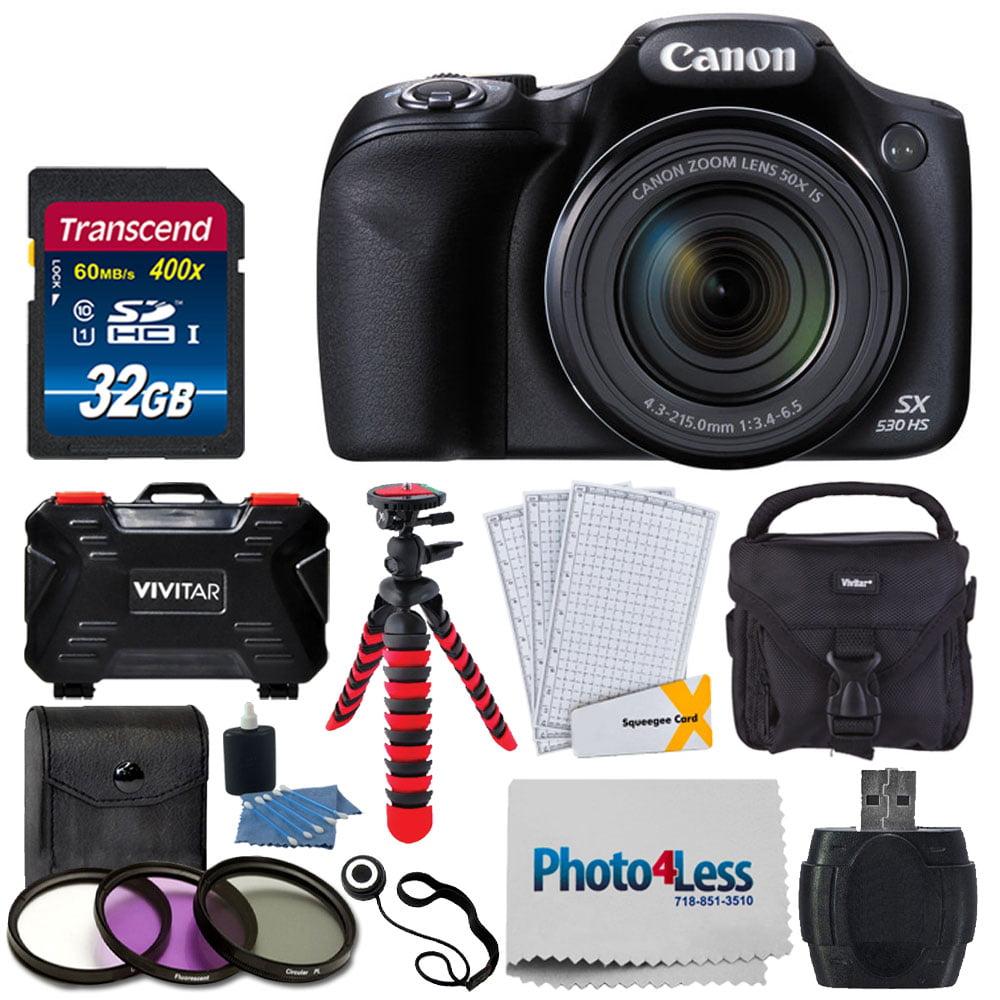 "Canon PowerShot SX530 HS Digital Camera + 32GB SDHC Memory Card Premium + SCB650 Gadget Bag + 67mm 3 Piece Filter Kit + 12"" Flexible Tripod + Vivitar Card Hard Case + Photo4Less Cloth + Cleaning Kit"