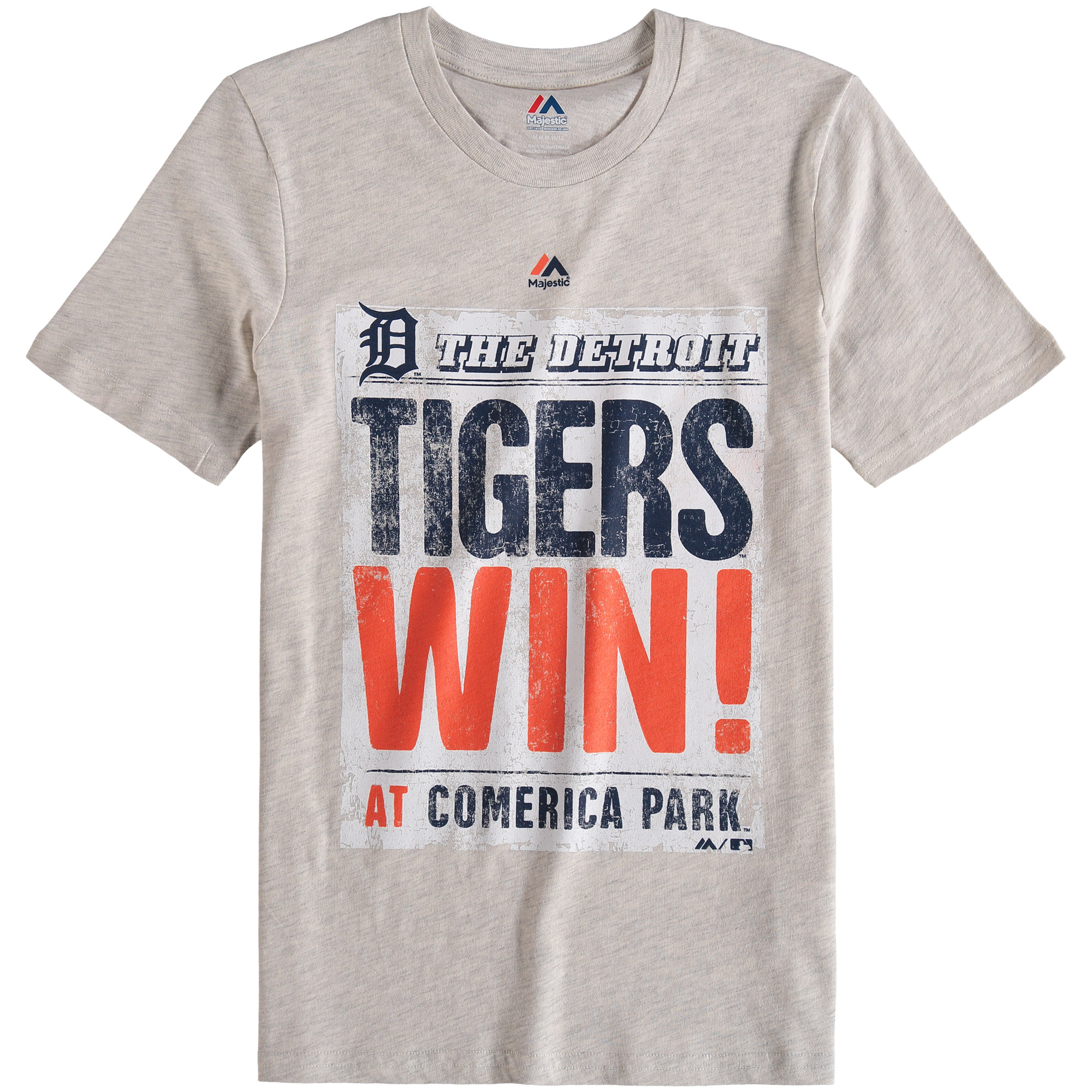 Detroit Tigers Majestic Youth Front Page T-Shirt - Cream